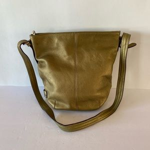 Tignanello Gold Leather Crossbody Shoulder Bag